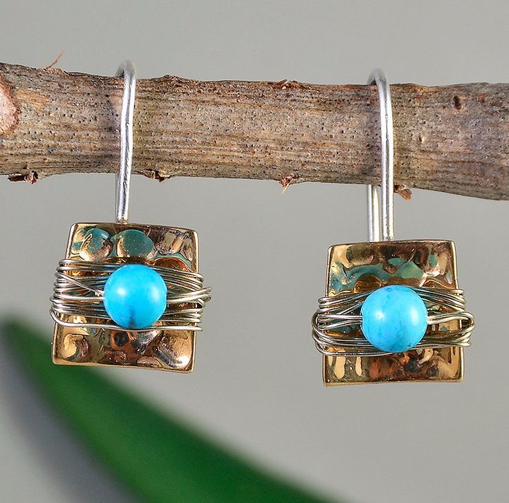 Turquoise short earrings, square drops, wrapped bead earring, geometrical drops, minimal jewelry, December Birthstone jewelry, hammered drop by ColorLatinoJewelry on Etsy