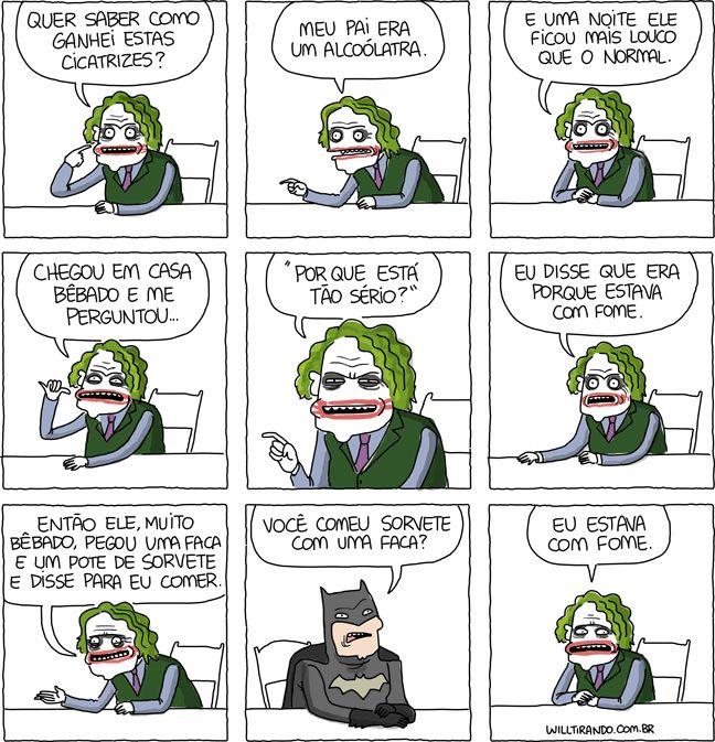 Por que vc está tão sério?? kkkk #WillTirando #WillLeite #Coringa #Batman #Cartoon #Tirinhas