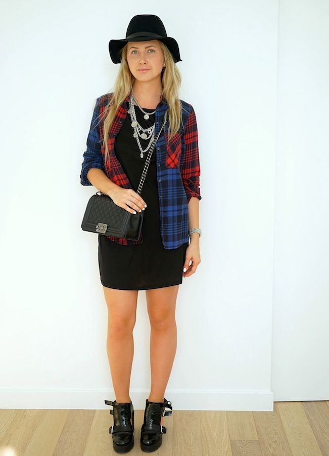 Red plaid shirt with dress.  http://ivanova-gazinskaya.ru/krasnaya-rubashka-v-kletku-3-obraza/