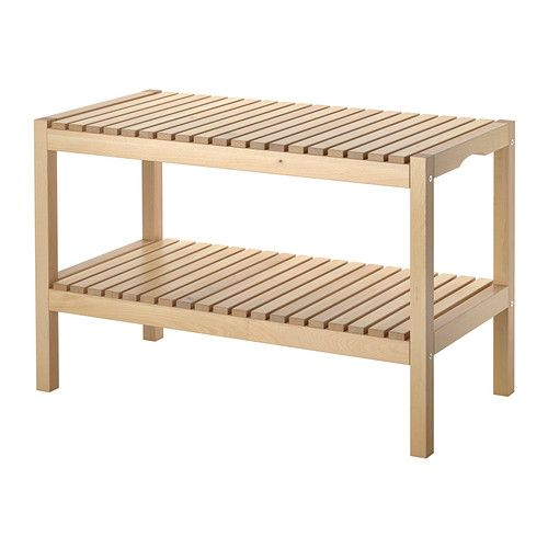 """IKEA - MOLGER, Bench, birch $39.99 Product dimensions Width: 31 1/8 """" Depth: 14 5/8 """" Height: 19 5/8 """""""