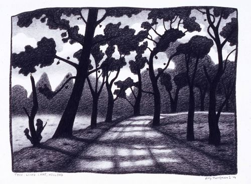Reg Mombasa, Tree lined lane, Hill End  charcoal on paper48 x 66cm2004