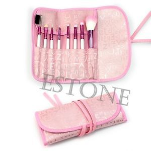 8 Pcs Chic Nice Pro Eyeshadow Cosmetic Brush Kit + Pink Case Makeup Brushes Set