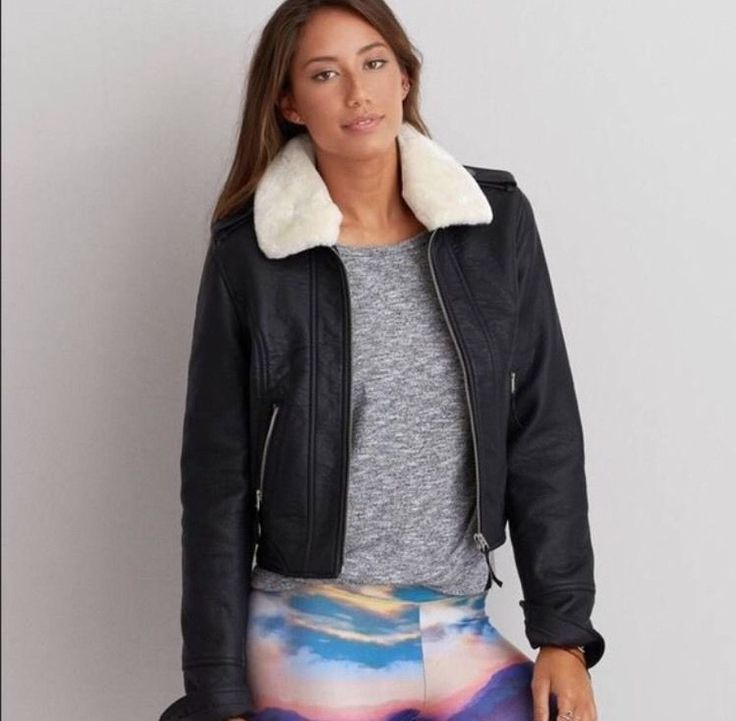 American Eagle Flight Bomber Jacket Sherpa Collar Black XS Free People | Clothing, Shoes & Accessories, Women's Clothing, Coats & Jackets | eBay!