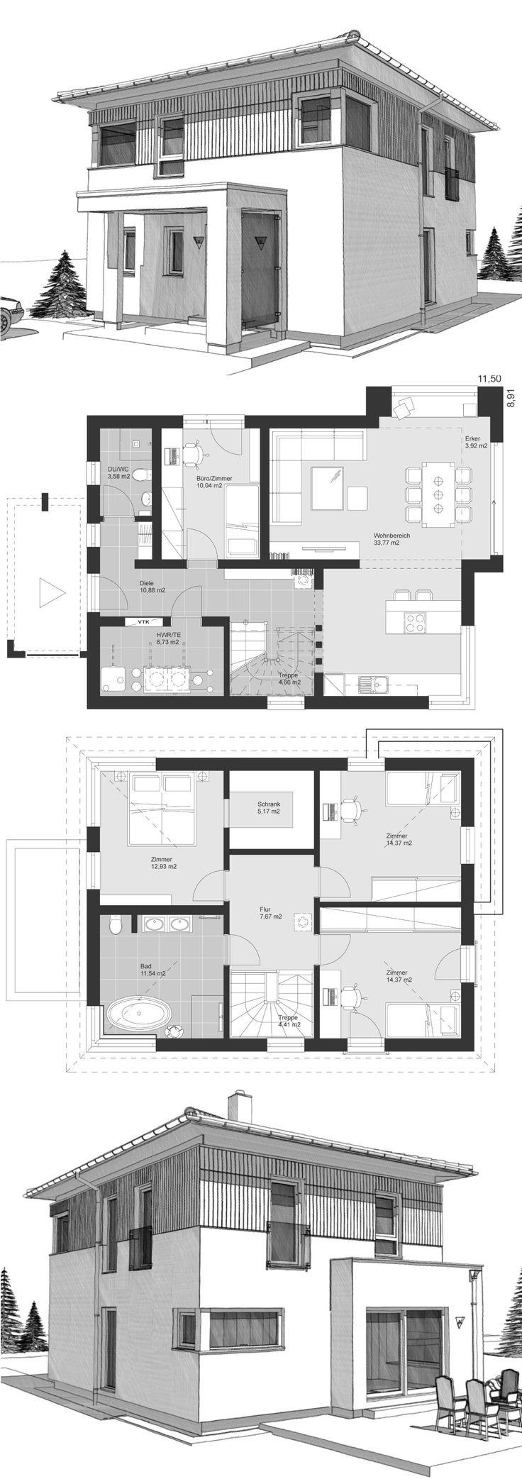Landhaus Stadtvilla modern Grundriss mit Walmdach …