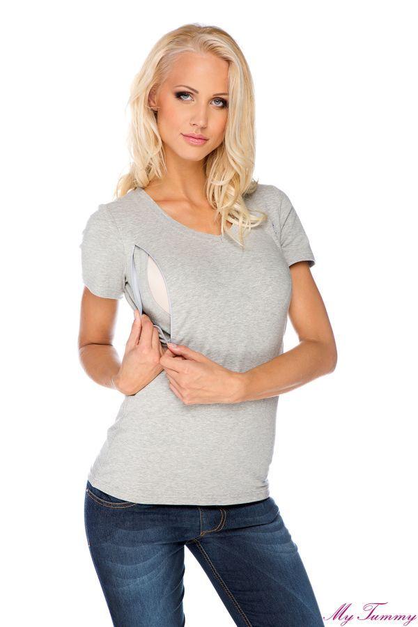 Koszulka do karmienia szara, krótki rękaw