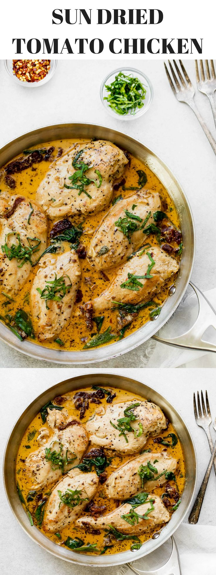 Looking for chicken breast recipes? Try this Sun Dried Tomato Chicken. One of my favorite quick dinner recipes, the lean protein cooked in creamy sauce with basil, sun–dried tomatoes in olive oil, garlic, Italian seasoning, half and half, and chicken broth.  Chicken breast without skin is a great lean protein source and a low-fat food to help burn extra calories for effective weight loss. Each half of chicken breast has more than 22 grams of protein and 2.5 grams of fat.