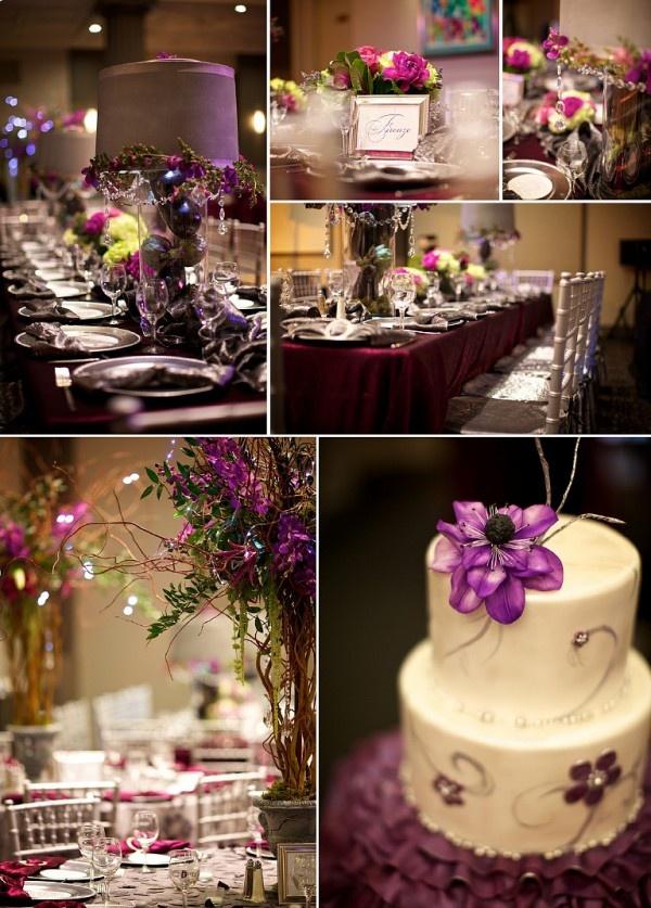 The centerpieces bottom left!!  A plum fall wedding