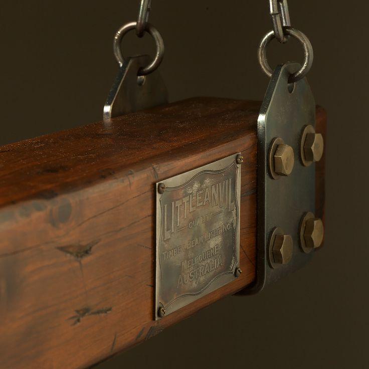 Wood Timber Lumber Beam LED Pendant Light No.1 Wooden Chandelier Boiler Plate