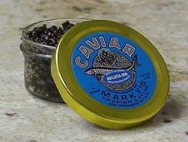 Beluga Caviar is the most expensive food item in the world, costing up to USD5,000 per kilogram.  Caviar is fish roe (eggs) and this particular brand comes from the Beluga Sturgeon, found mostly in the Caspian sea.  It can take up to 20 years for a Beluga Sturgeon to reach its maximum size and they can weigh up to 2 tonnes.  The eggs are the largest of the fish eggs used for caviar.  Beluga usually ranges from purple to black, the palest being the most expensive.  Belug