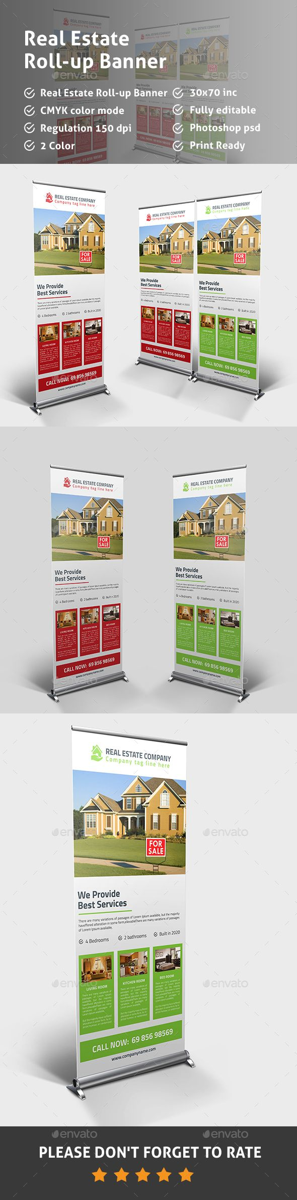 Real Estate Rollup Banner PSD Template
