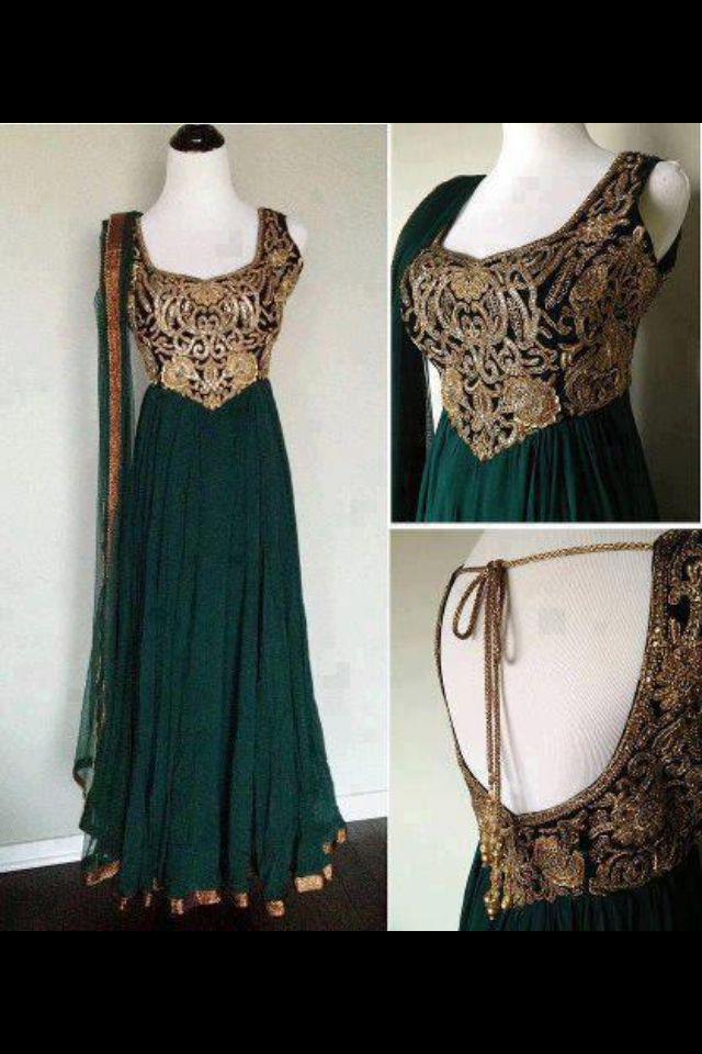 Teal & gold anarkali