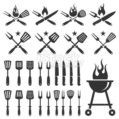 Summer Barbecue grill knife and spatula vector icon set Royalty Free Stock Vector Art Illustration