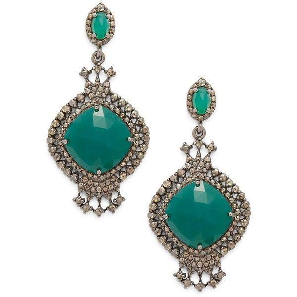Bavna Women's Green Onyx & Diamond Earrings ($1,250) ❤ liked on Polyvore featuring jewelry, earrings, no color, earring jewelry, bavna, diamond jewellery, green onyx earrings and green onyx jewelry