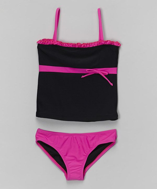 Look at this Sunshine Zone Black & Pink Tankini - Girls on #zulily today!