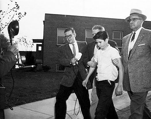 Nonchalantly smoking a cigarette, 15-year-old Billy Ray Prevatte - Shot 3 teachers @ his Junior High School after he was reprimanded for truancy. 1 teacher was killed, 1 seriously wounded and the other slightly wounded. (1956)