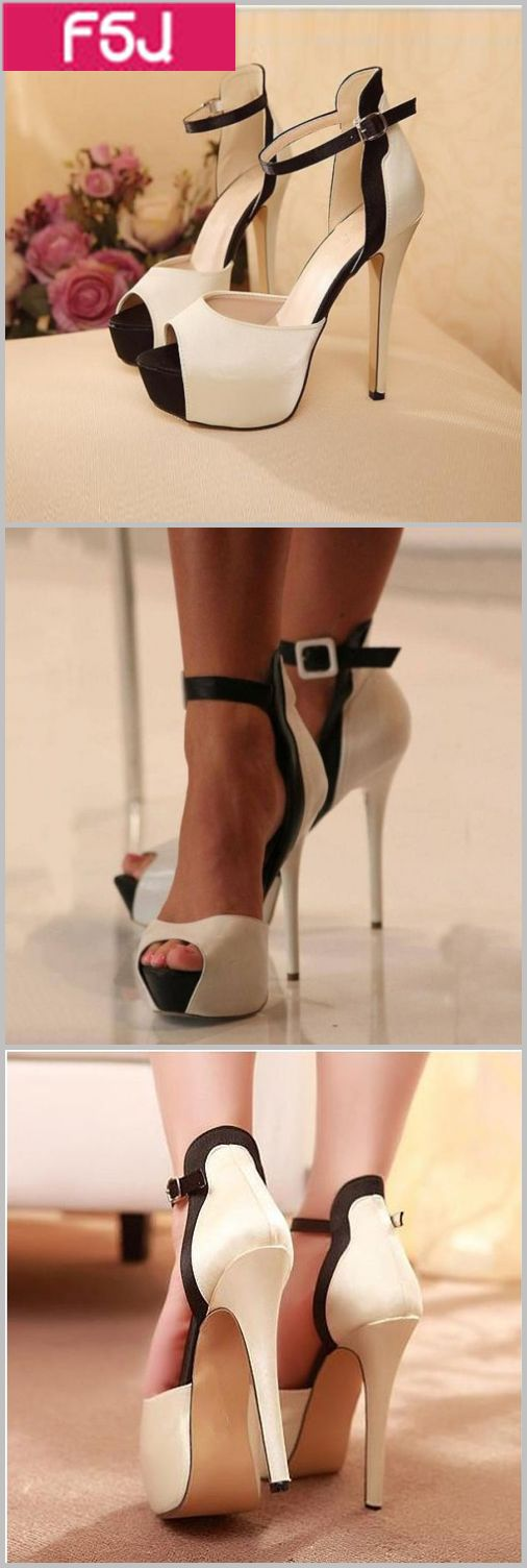Women's Style Sandal Shoes Fall Season Outfits Office Outfits Women White and Black Peep Toe Platform Stiletto Heels Ankle Strap Sandals Fall Fashion Outfits 2017 Women's Prom Dresses Shoes Chic Fashion Illustration  FSJ