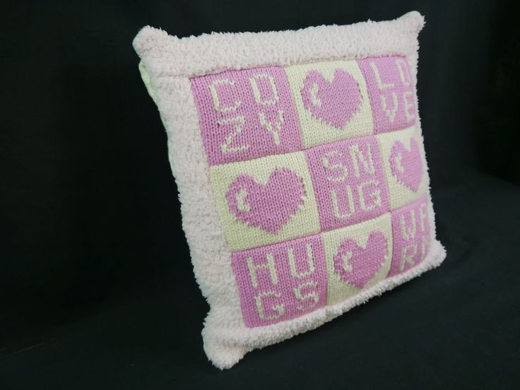 Hand Knitted Cream/Pink Heart Motif Quilted Cushion