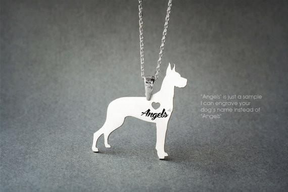 GREAT DANE NAME Necklace - Danua Name Necklace - Personalised Necklace - Dog breed Necklace - Dog Necklace