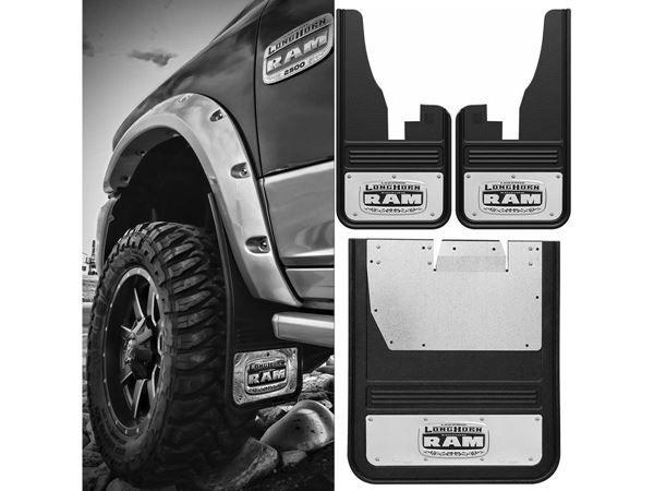 RAM Longhorn Dually Mud Flap Sets For 2010-2016 Dodge Ram 3500 - Brackets Included  - #RamNation #RamMudFlapSet #RamMudGuardSet #RamSplashGuard