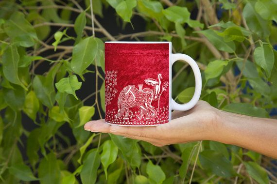 A Day of a Kingly Elephant in His Royal Palace (Red) by Mggkarthouse  #designer #art #coffee #inkart #indianart #pendesigns #handdesigned #zentangle #abstract #mugs #designer #unique #royalart #elephant #blue #white #mandana