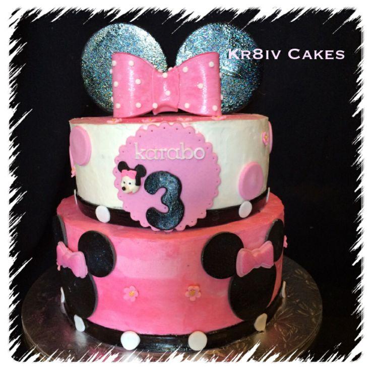 Red velvet Minnie Mouse themed 3rd birthday cake❤️
