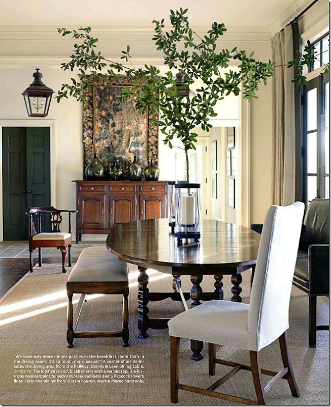 Like this vibe- clean, soft white, warm woods, a bit of black, mix of furniture & lines, new & antique.  Cote De Texas