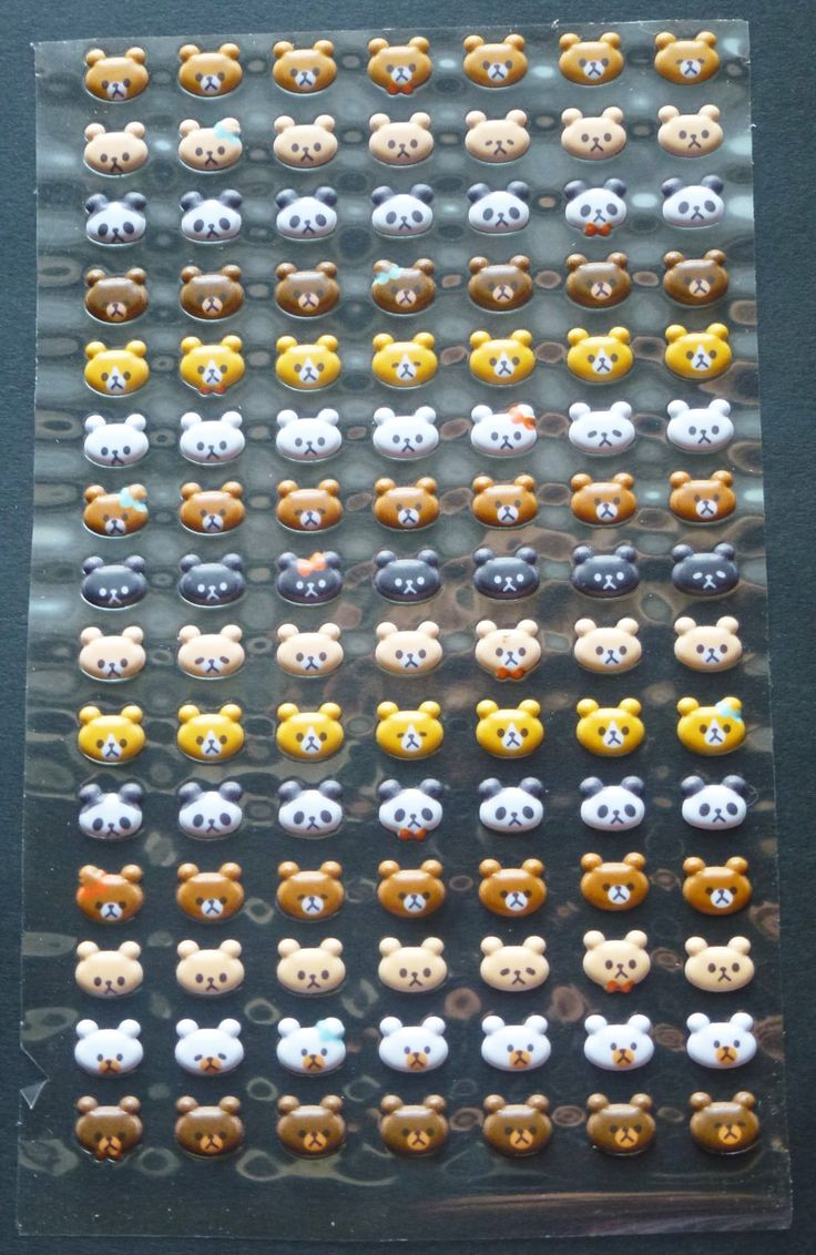 Bear heads bubble sticker (3D) for diary by AzraelWest on Etsy