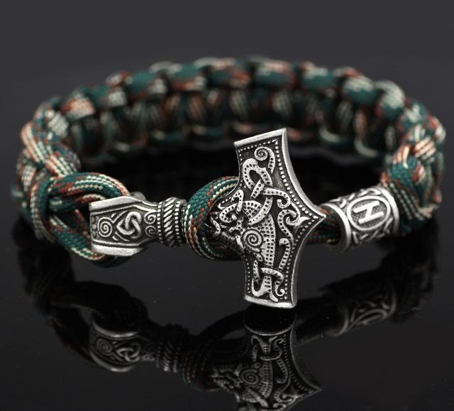 Norse Viking nœud Rune Perles le marteau de Thor Mjolnir Amulette handmade bracelet homme