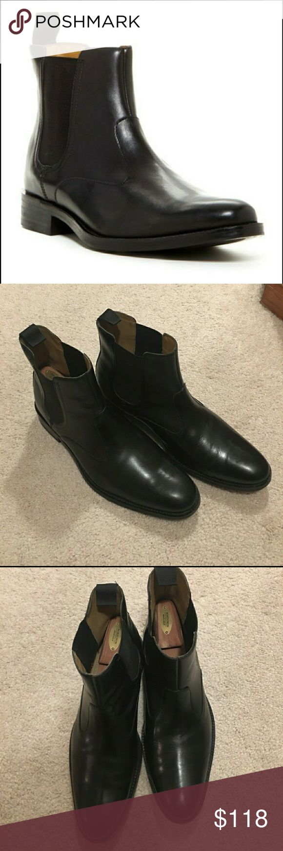 Cole Haans Mens Boots Worn a few times, wear is visible in the pictures. They are in great shape. No scratches or scuffs in the leather. Cole Haan Shoes Boots