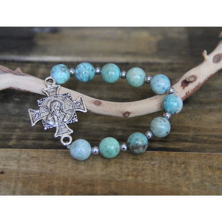 Blue Jasper St. Benedict Bracelet | The Catholic Company