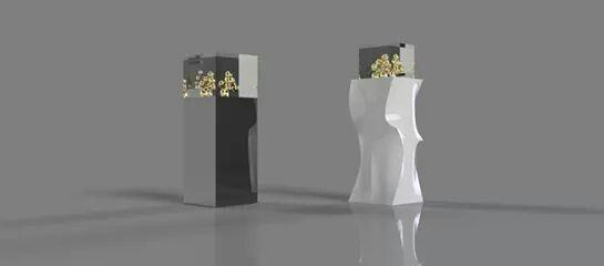 Mostrador de joyeria Diseñado en Corian y acero inoxidable