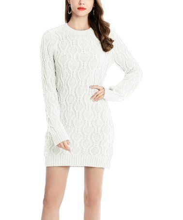 d9c502f243b Look what I found on  zulily! White Cable-Knit Sweater Dress - Women   zulilyfinds....with leggings