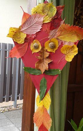 drak mušketýr (barevný papír, listí, žaludy)