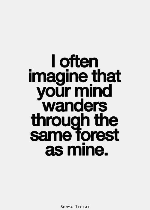 I often imagine that your mind wanders through the same forest as mine. It's a love of the mind.
