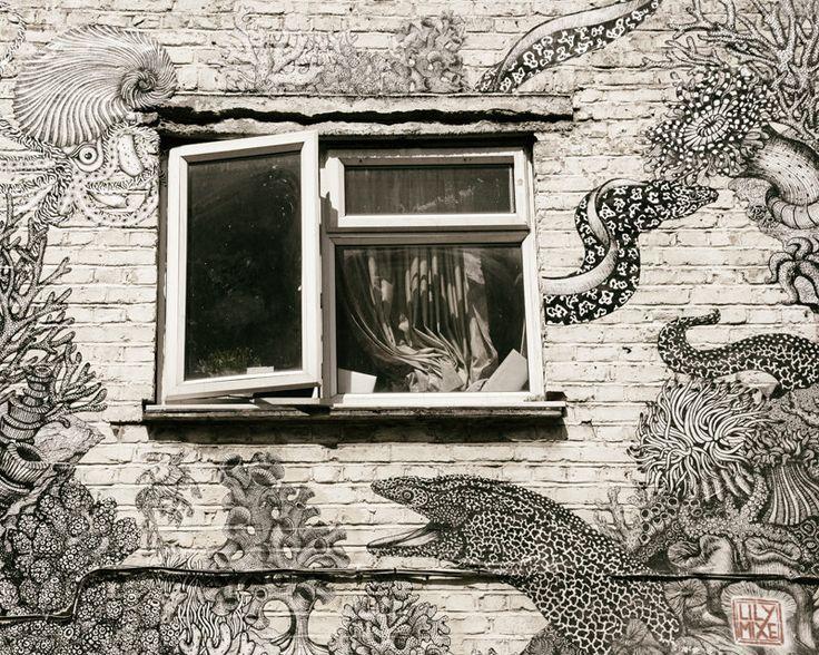 London Street Art, Graffiti Art, Sea Creatures, Ocean, Beach, Contemporary Wall Art, Urban Decor, Nautical Decor, black and white, cream by AllysonBrownPhoto on Etsy https://www.etsy.com/listing/241411014/london-street-art-graffiti-art-sea