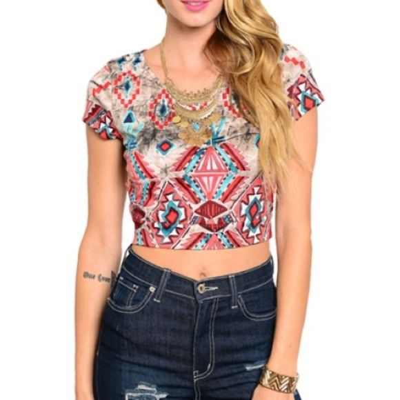 Clearance! Aztec crop top Our Aztec crop top is perfect! Casual but sexy. Made in the  available in S-M-L Tops Crop Tops