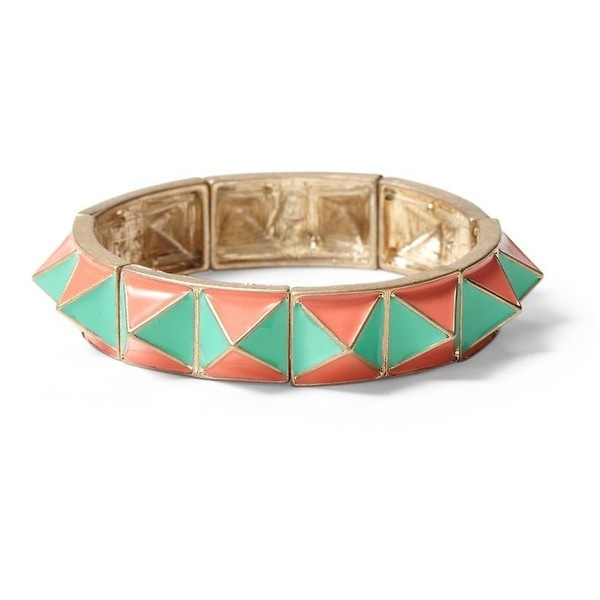 Tinley Road Mint & Melon Pyramid Stretch Bracelet ($34) ❤ liked on Polyvore