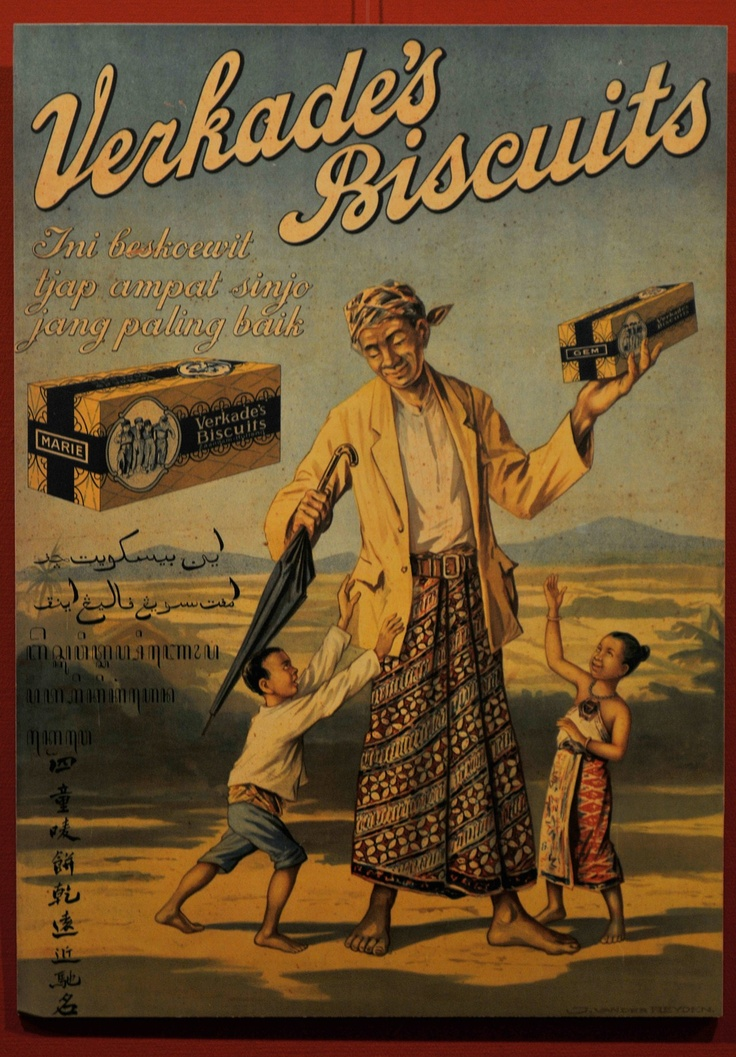 Verkade. Old advertising from the Dutch colonial era. The man in the picture is wearing Javanese costume.