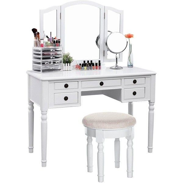 SONGMICS Vanity Set Tri-folding Mirror Make-up Dressing Table... ($2,199) ❤ liked on Polyvore featuring home, furniture, tables, white vanity table, white vanity set, white bathroom vanity set, white table and white vanity desk