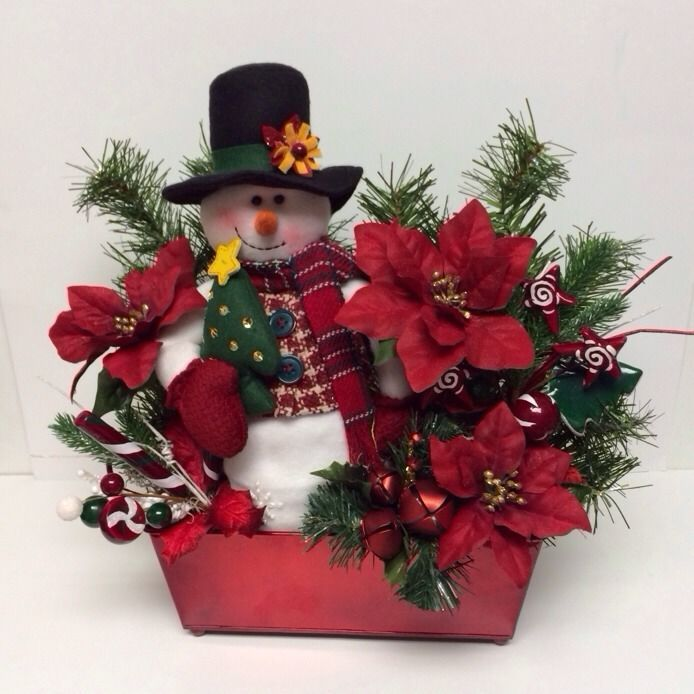 Snowman Centerpiece Fireplace Mantle Display Fl Poinsettas Winter Christmas Handcrafted