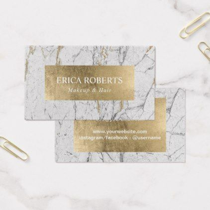 Makeup Artist Hair Salon Gold Leaf Modern Marble Business Card - makeup artist gifts style stylish unique custom stylist