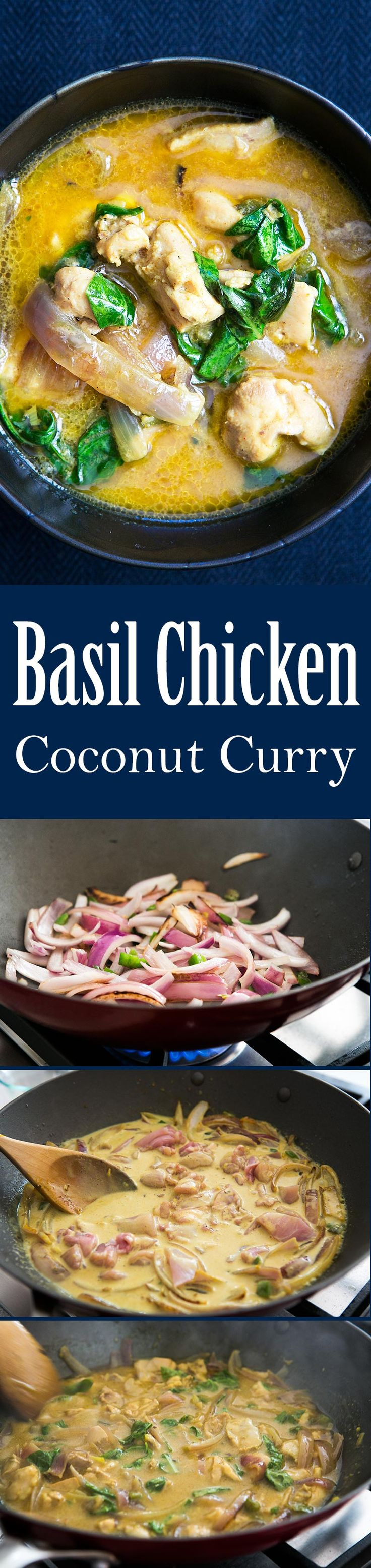 This Basil Coconut Chicken Curry is quick, easy, and only uses one pot! Perfect for a midweek dinner. #glutenfree On SimplyRecipes.com