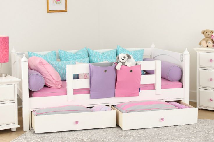 Best selling toddler bed with front guardrail and underbed storage - dresser drawers. Dress it up with crystal knobs. This is a very popular toddler bed made from solid wood.