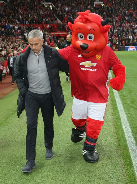 Manager Jose Mourinho of Manchester United walks out ahead of the Premier League match between Manchester United and Burnley at Old Trafford on...