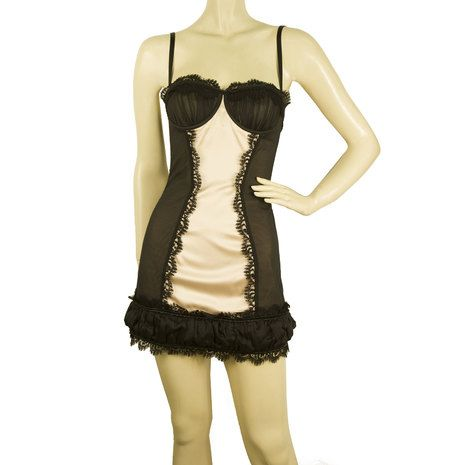 Dsquared2 D2 Sexy Boudoir Bustier Corset Style Boned Beige Black Mini Dress 42