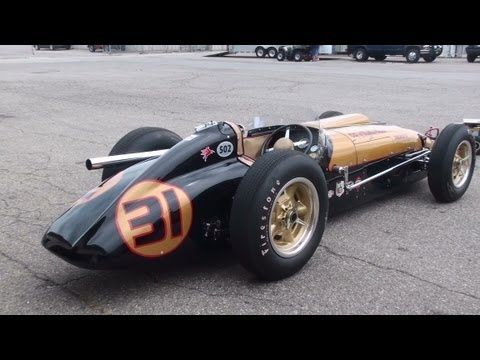 Vintage Racing - 1950s Indy Cars startup and race. LOUD!!! - YouTube