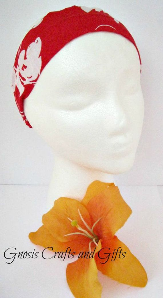 Cloth headband Red and white flower Hair by GnosisCraftsandGifts