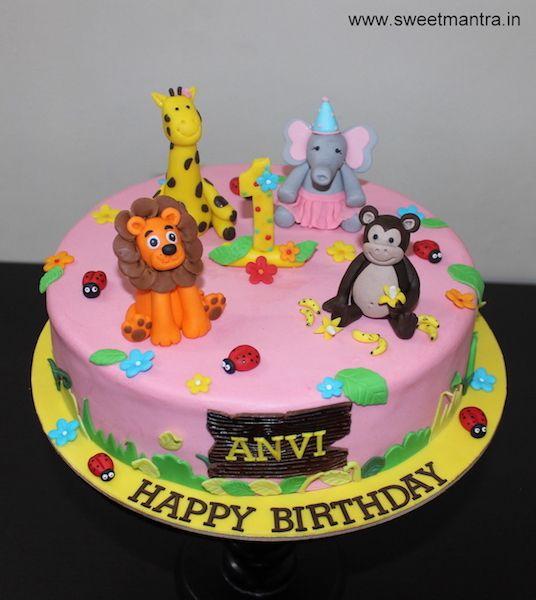 Animals theme customized designer fondant cake for girl's 1st birthday at Pune