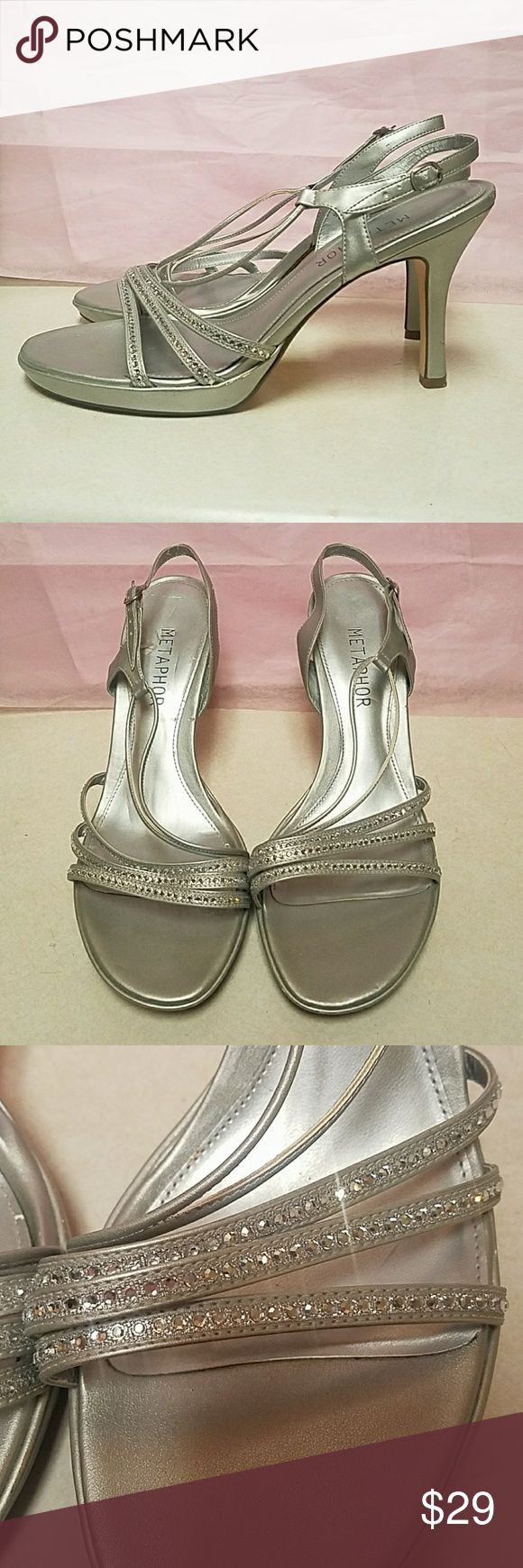 New Years Eve Silver Sparkly Bling Sandals SZ 10 These heels are gorgeous and in great condition. Perfect for holiday parties including cocktail party,  Christmas party or New Years Eve party. Also ready for date night, girls night out, or Vegas weekend! 4 inch Heels will look great with evening dress, cocktail dress, or skinny jeans. Size 10. Save 10% on all bundles.  I ship daily! Shoes Heels