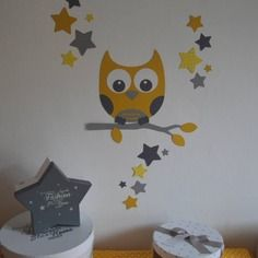 dispo stickers hibou et ses 16 toiles jaune et gris d coration chambre enfant gris et